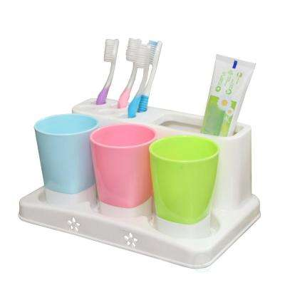 Family Size Toothbrush and Toothpaste Holder with 3-Cups