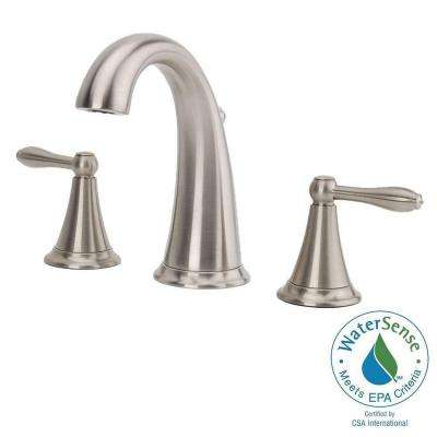 Widespread 2 Handle Mid Arc Bathroom Faucet In Brushed Nickel
