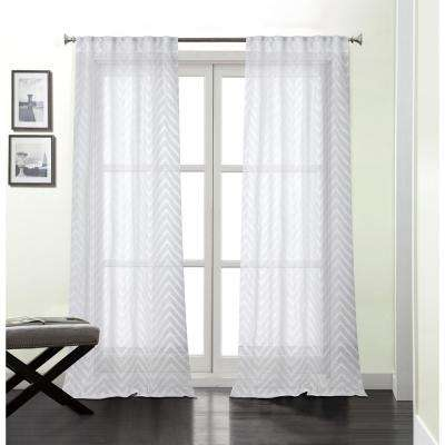 Chevron 84 in. White Polyester Sheer with Embroidery Rod Pocket Window Curtain Panel (2-Pack)