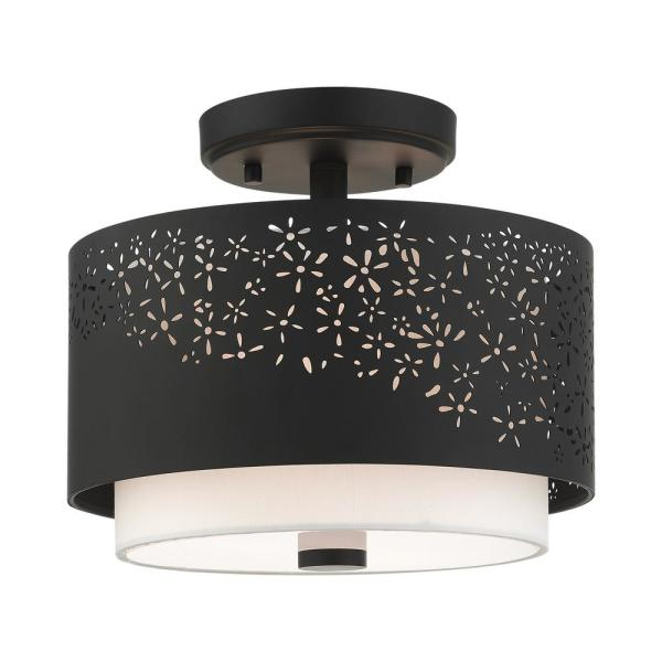 Noria 2 Light Black Semi Flush Mount