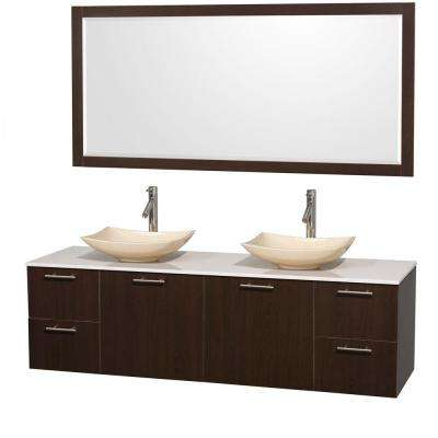 Double Vanity In Espresso With Solid Surface Vanity Top In White