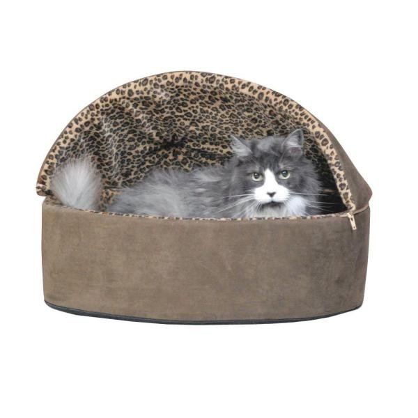 Thermo-Kitty Deluxe Large Mocha Leopard Hooded Heated Cat Bed