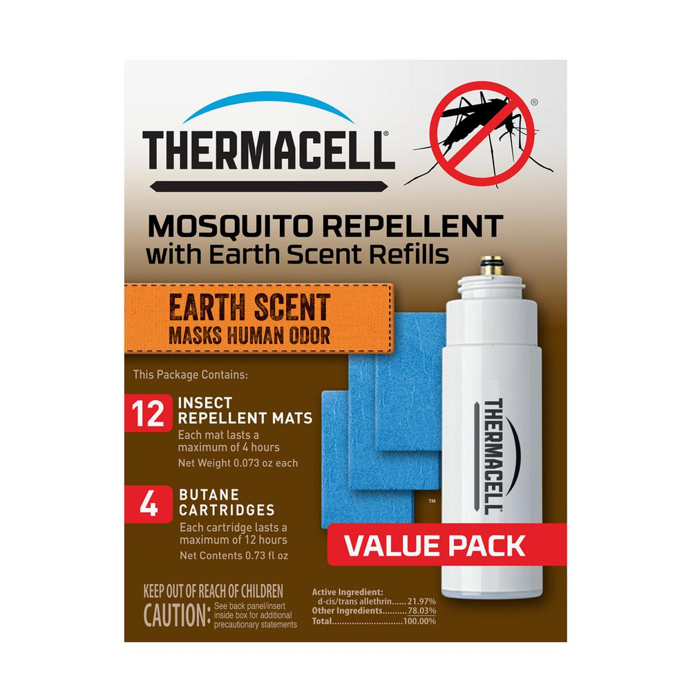 Thermacell Earth Scent Mosquito Repellent 48-Hour Refill Pack for Appliances and Lanterns Thermacell Earth Scent Mosquito Repellent Refills effectively repel mosquitoes by creating a 15 ft. zone of protection when used in a Thermacell Repeller. This refill also provides an Earth Cover scent to mask human odor. Earth Scent Refills are ideal for hunting.