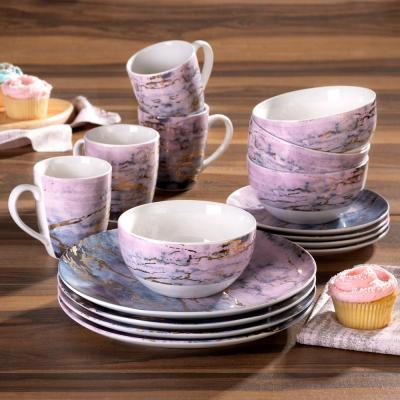16-Piece Purple/Gold Marble Dinnerware Set