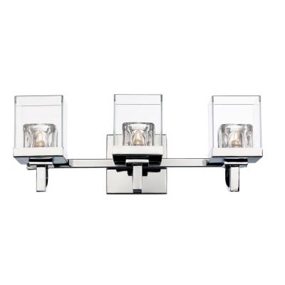 5.25 in. 3-Light Polished Chrome Vanity Light with Clear Glass and Crystal Shade
