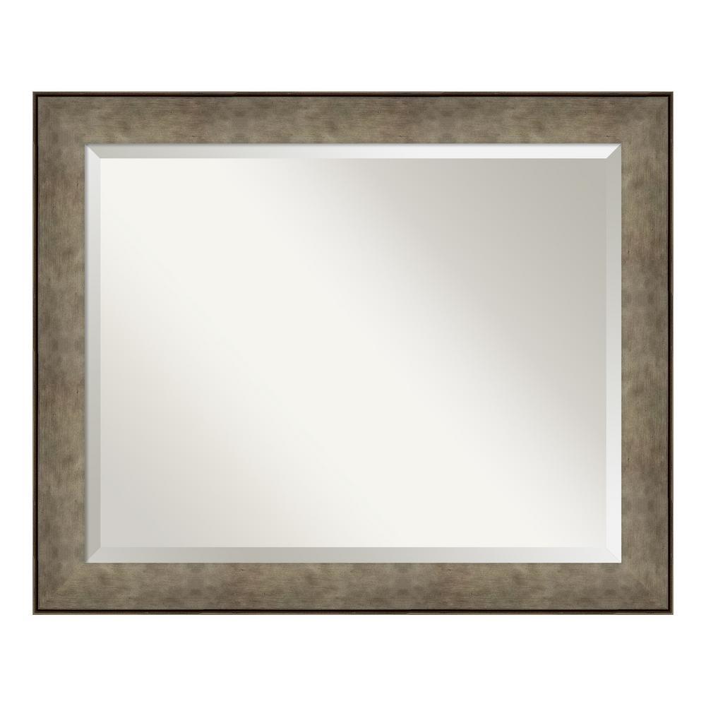 Amanti Art Pounded Metal Silver Bathroom Vanity Mirror