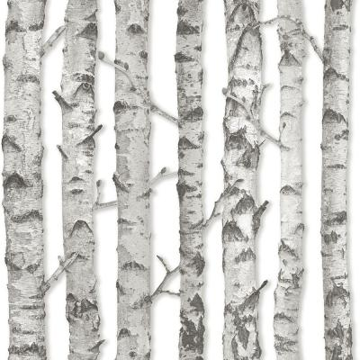 Merman Light Grey Birch Tree Paper Strippable Wallpaper (Covers 56.4 sq. ft.)