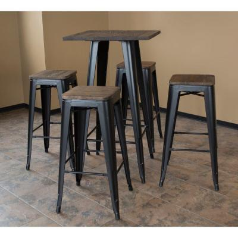 Loft Style Black Metal Bar Set Table And Stools withDark Elm Wood Top (5-Piece)