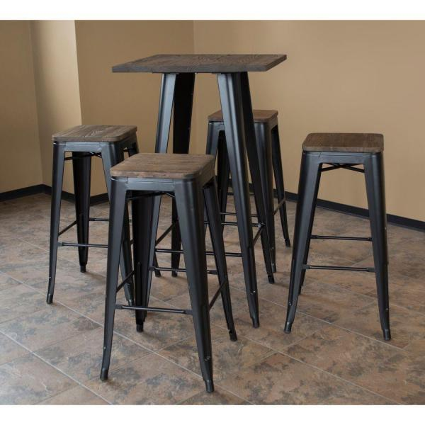 AmeriHome Loft Style 30 in. Bar Table Set in Black with