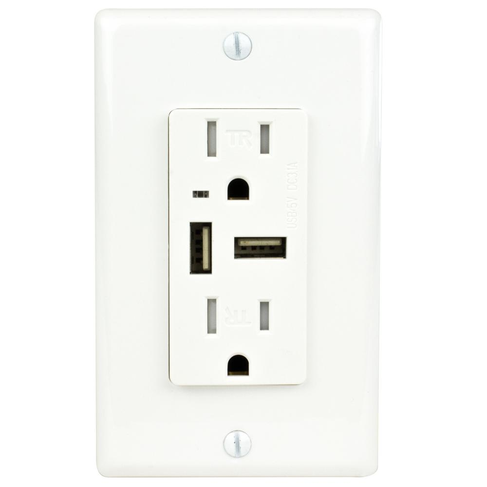 15 Amp Tamper Resistant Receptacle with 3.1 Amp USB Outlet, White