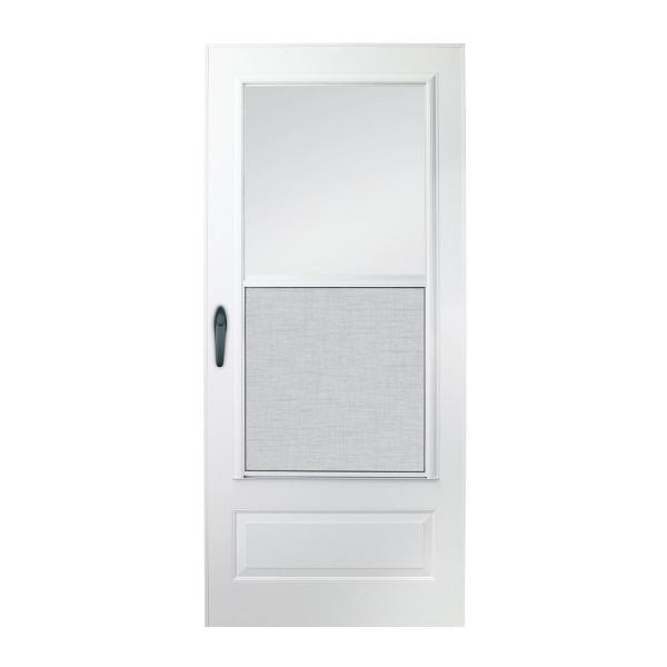 32 in. x 78 in. 100 Series Plus White Self-Storing Storm Door