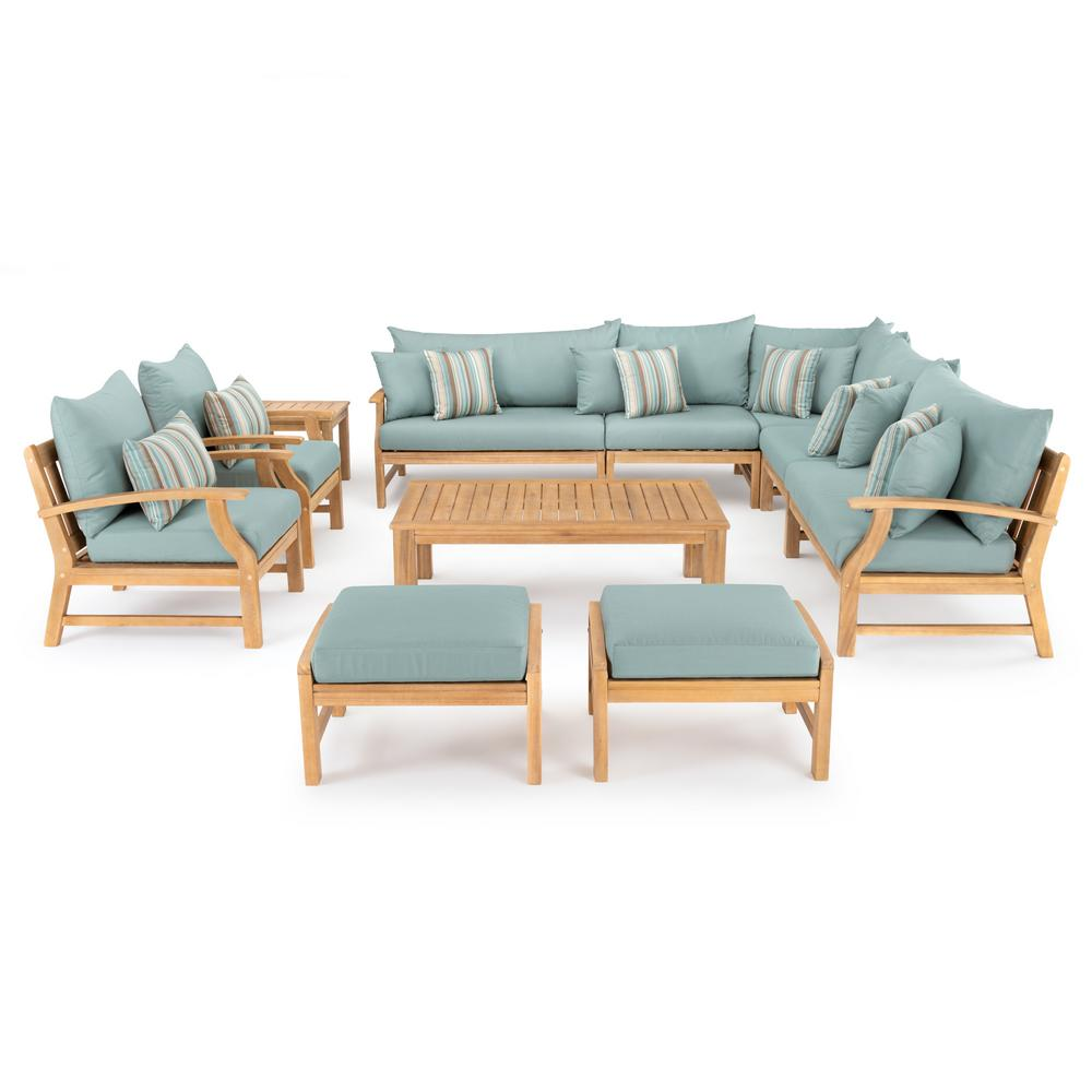 RST Brands Kooper 11-Piece Wood Patio Deep Seating Conversation Set with Bliss Blue Cushions