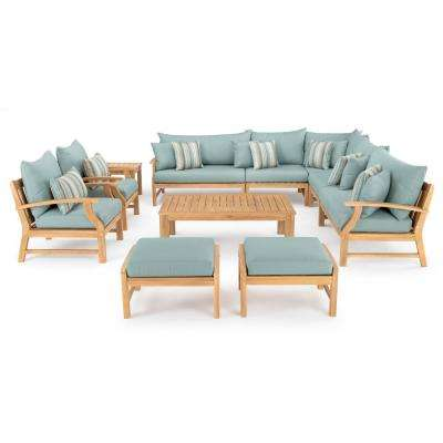 Kooper 11-Piece Wood Patio Deep Seating Conversation Set with Bliss Blue Cushions