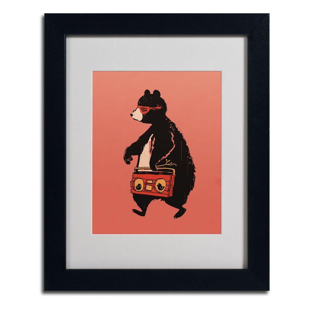 Trademark Fine Art 11 in. x 14 in. Kwan Boombox Bear Matted Framed Art