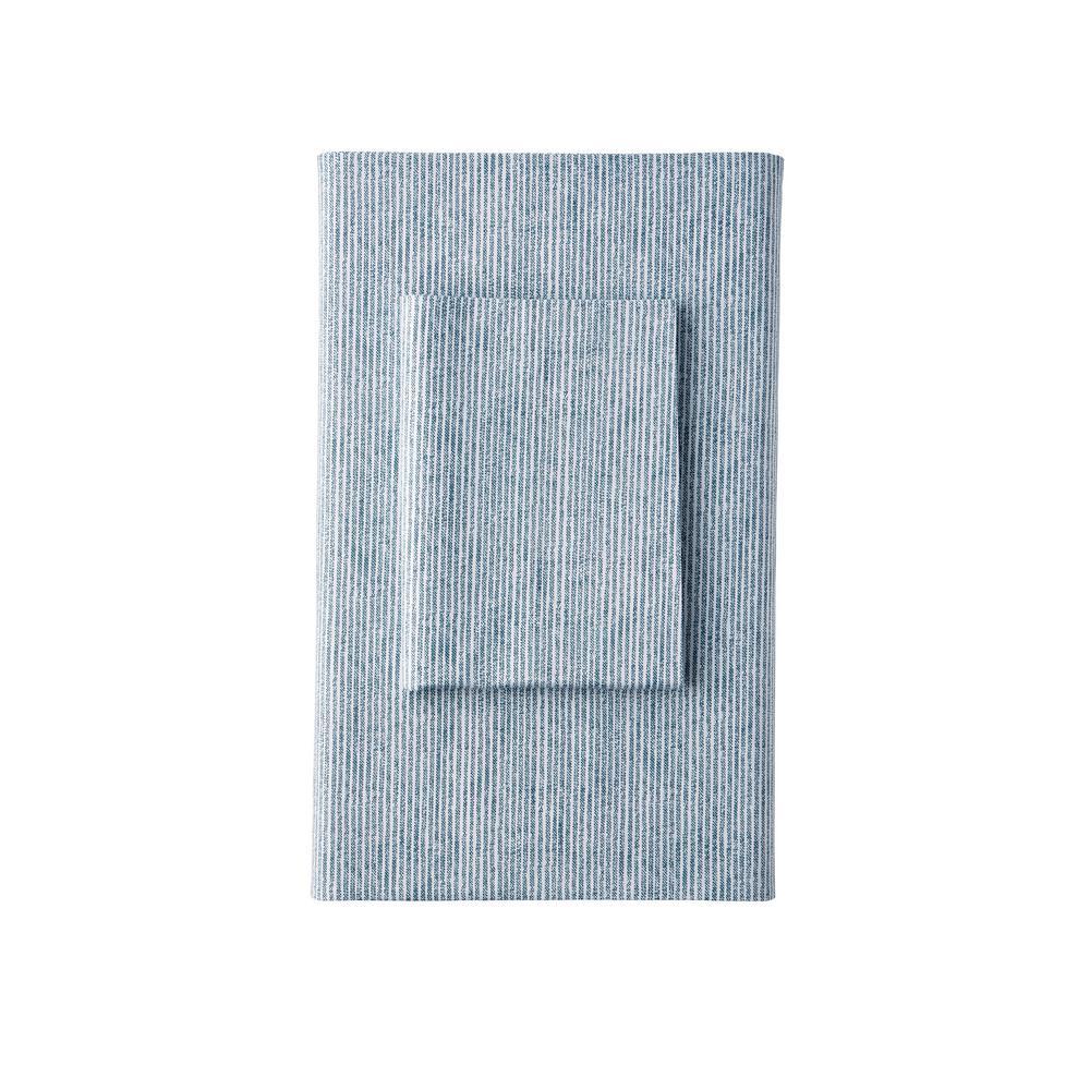 The Company Store Larkin Stripe Organic Blue 300-Thread Count Cotton Percale