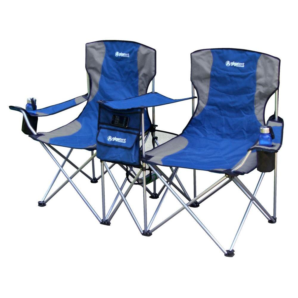 Sit Side By Side Double folding Padded Camping Chair in Blue