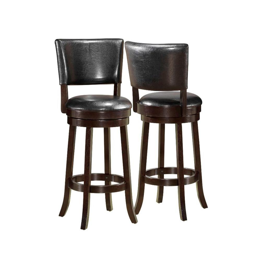 Monarch Specialties 44 in. H Leather-Look Swivel Barstool in Black (2-Piece per Carton)-DISCONTINUED