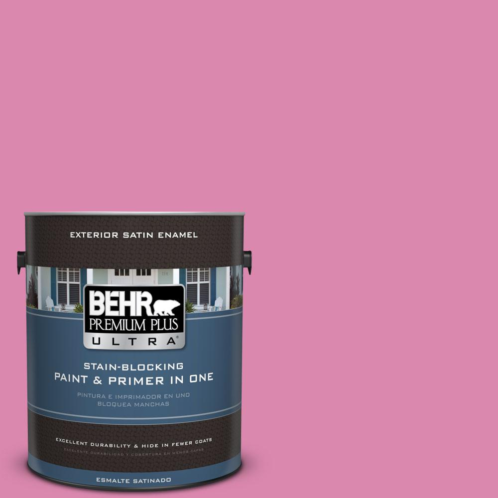 BEHR Premium Plus Ultra 1-gal. #100B-5 Springtime Bloom Satin Enamel Exterior Paint