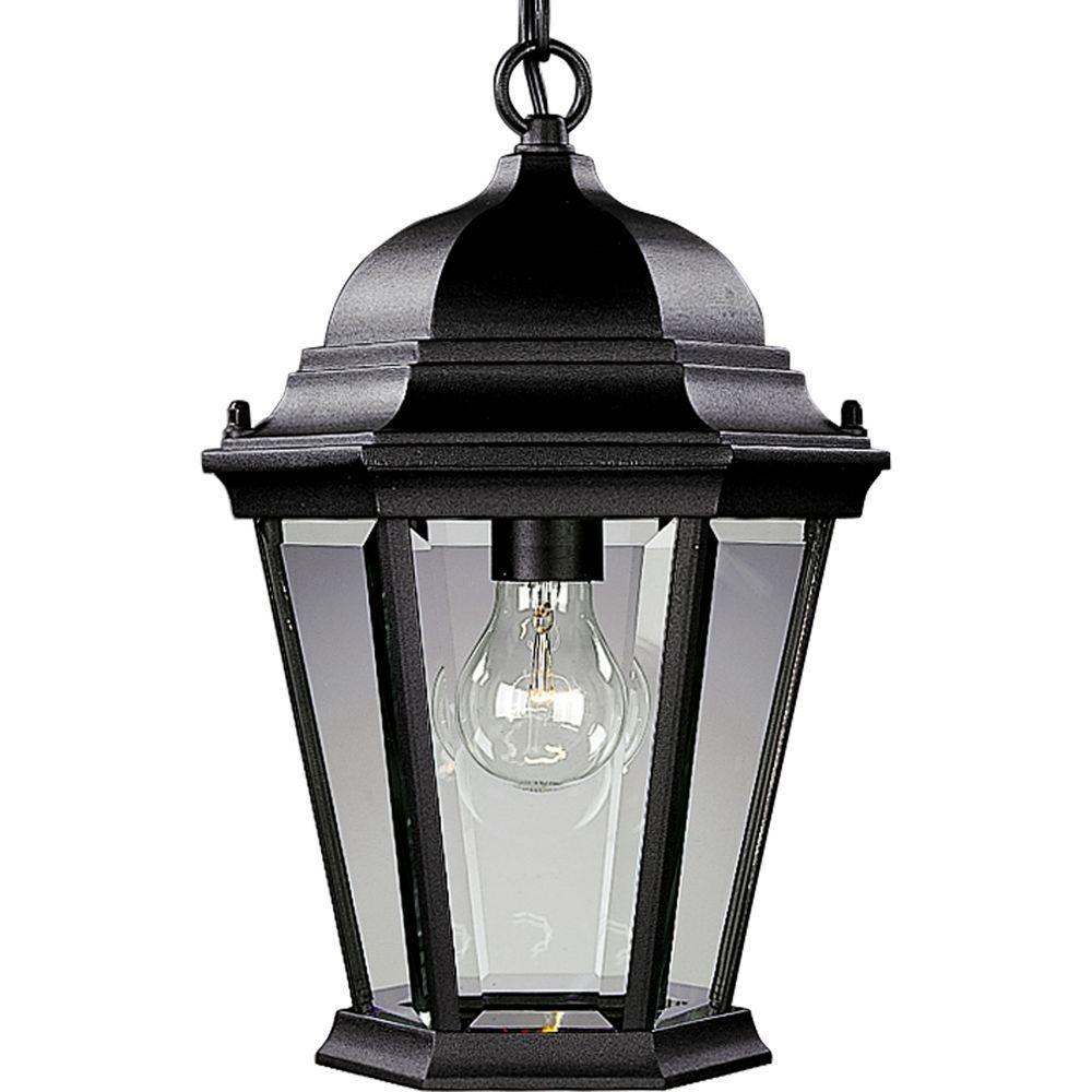 Welbourne Collection Textured Black Outdoor Hanging Lantern
