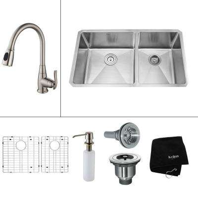 All-in-One Undermount Stainless Steel 33 in. 60/40 Double Basin Kitchen Sink with Faucet and Accessories in Satin Nickel