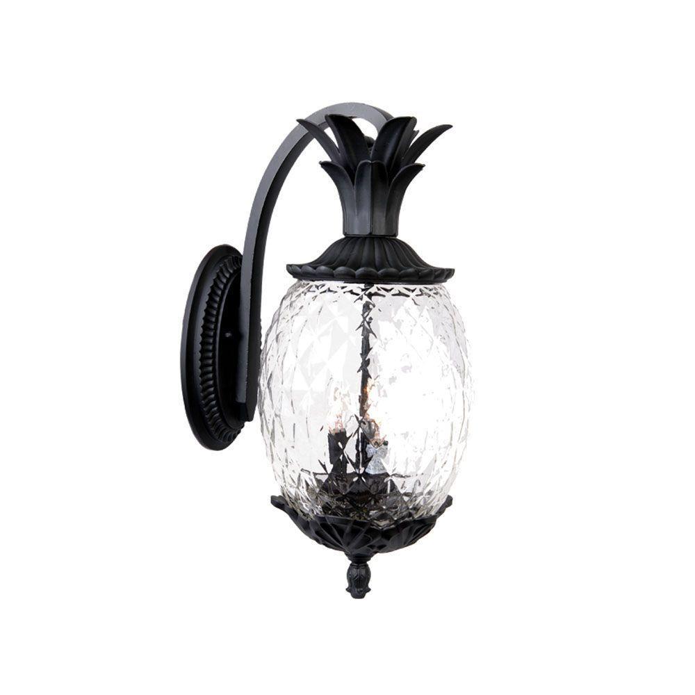 Acclaim Lighting Lanai Collection 3 Light Matte Black Outdoor Wall Lantern Sconce