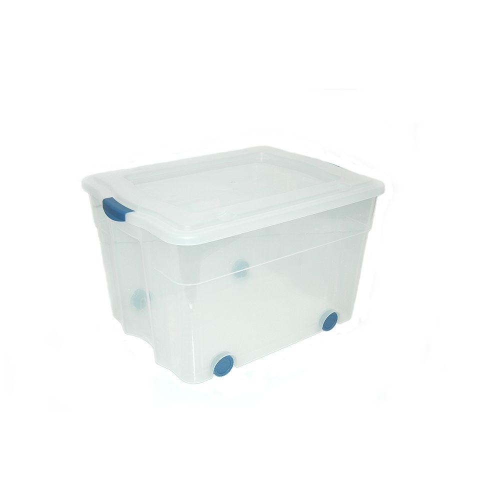 Genial Organize It 84 Qt. Latched Storage Tote With Wheels In Clear