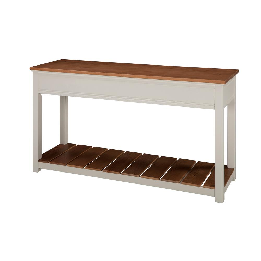 Alaterre Furniture Savannah Ivory With Natural Wood Top 50 In. Wide Console  Table