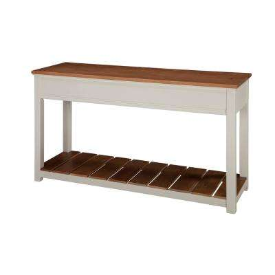 Savannah Ivory with Natural Wood Top 50 in. Wide Console Table