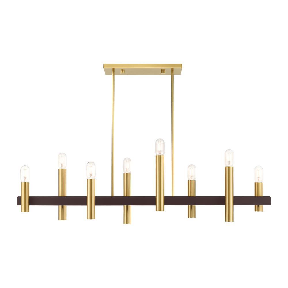 Helsinki 8-Light Satin Brass Linear Chandelier