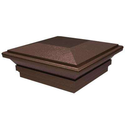 5 in. x 5 in. Vinyl Antique Brown Contemporary Fence Post Top
