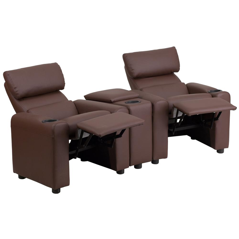 FLASH Kid's Brown Leather Reclining Theater Seating with ...
