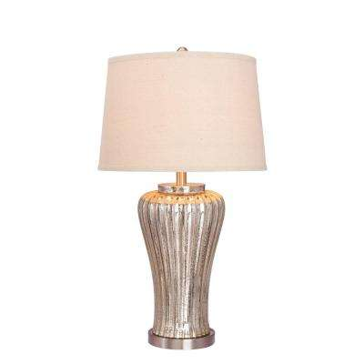28.5 in. Mercury Glass Table Lamp with Brushed Steel Metal Accents
