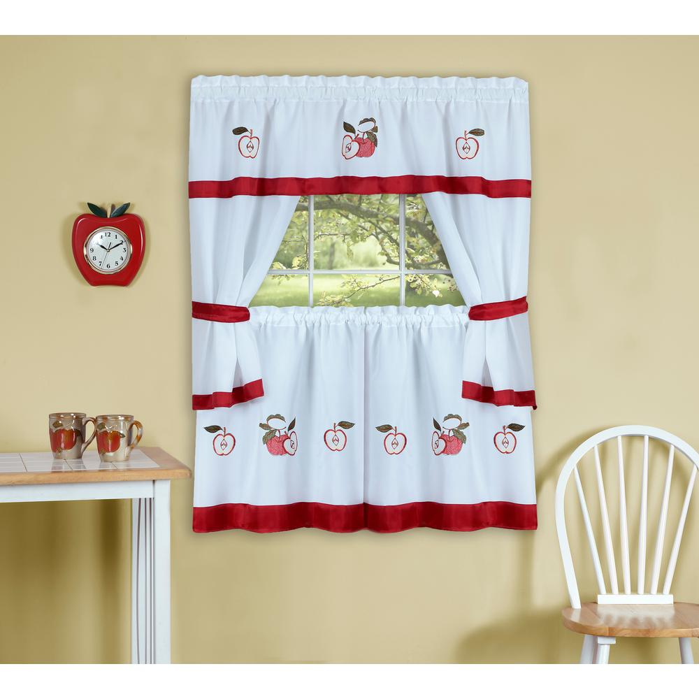Achim Sheer Gala 24 in. L Polyester Window Curtain Set in Red ...