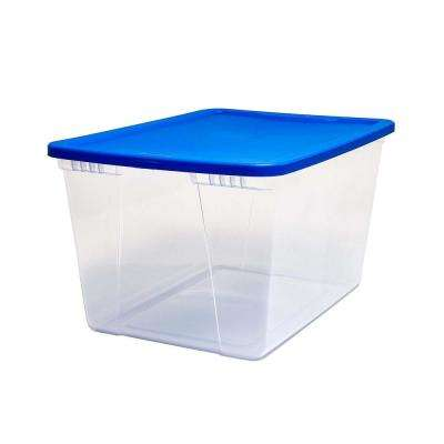 Snaplock 56 Quart Clear Storage Container with Blue Lid, Set of 8