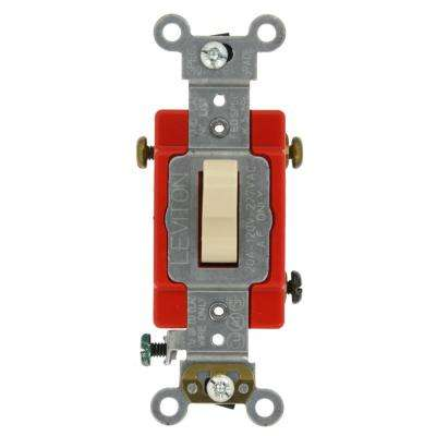 20 Amp Industrial Grade Heavy Duty 3-Way Lighted Handle Toggle Switch, Ivory