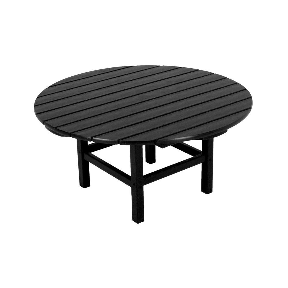 Beau POLYWOOD Black 38 In. Round Patio Conversation Table
