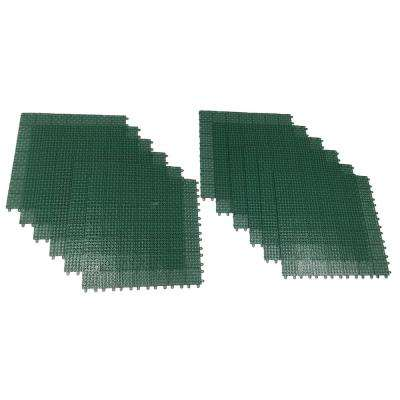 Green Regenerated 22 in. x 22 in. Polypropylene Interlocking Floor Mat System (Set of 12 Tiles)