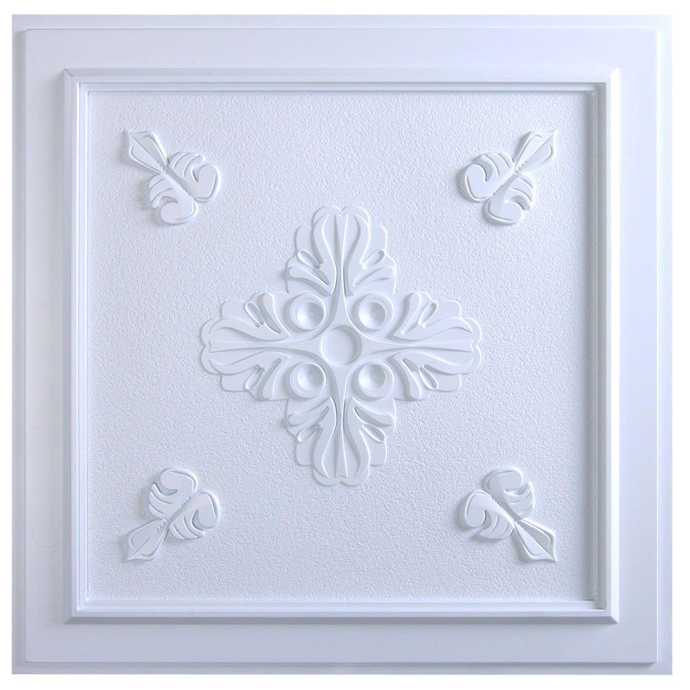 Udecor Belfast 2 Ft X 2 Ft Lay In Or Glue Up Ceiling Tile In White 40 Sq Ft Case Ct 1069 White The Home Depot