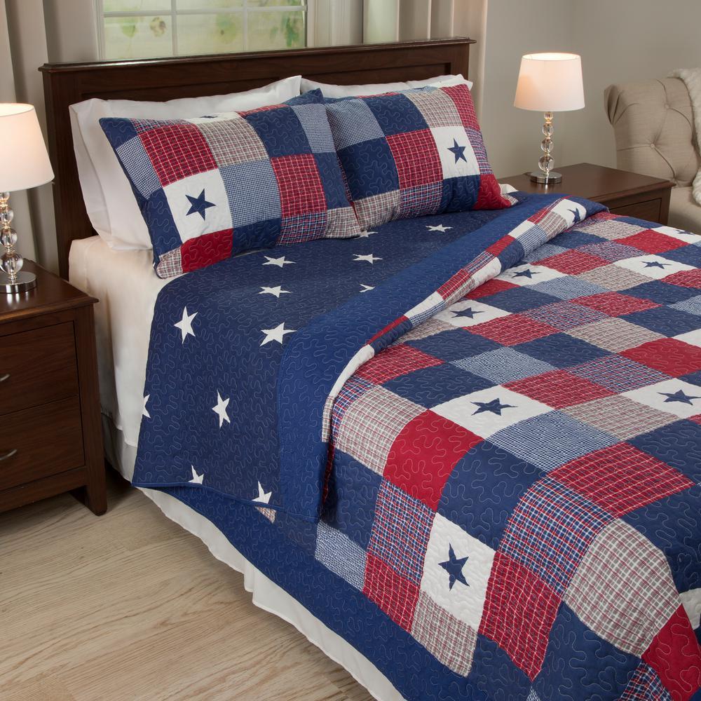 Lavish Home Caroline Blue Polyester Full/Queen Quilt