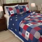 Caroline 3-Piece Blue King Quilt Set