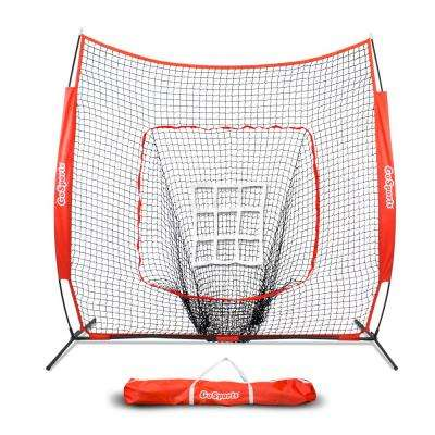 7 ft. x 7 ft. Baseball and Softball Practice Hitting and Pitching Net with Bow Frame, Carry Bag and Bonus Strike Zone