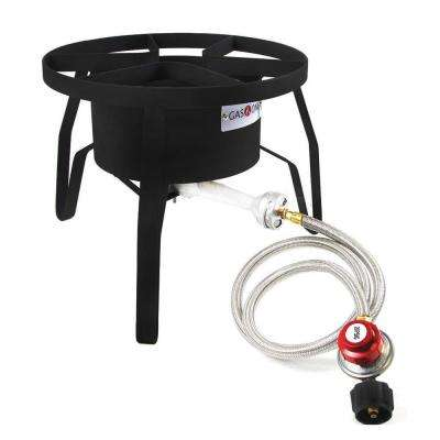 65,000 BTU High Pressure Propane Burner Outdoor Cooker with 0 PSI to 20 PSI Steel Braided Hose