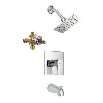 Karsen Single-Handle 1-Spray Tub and Shower Faucet in Polished Chrome (Valve Included)