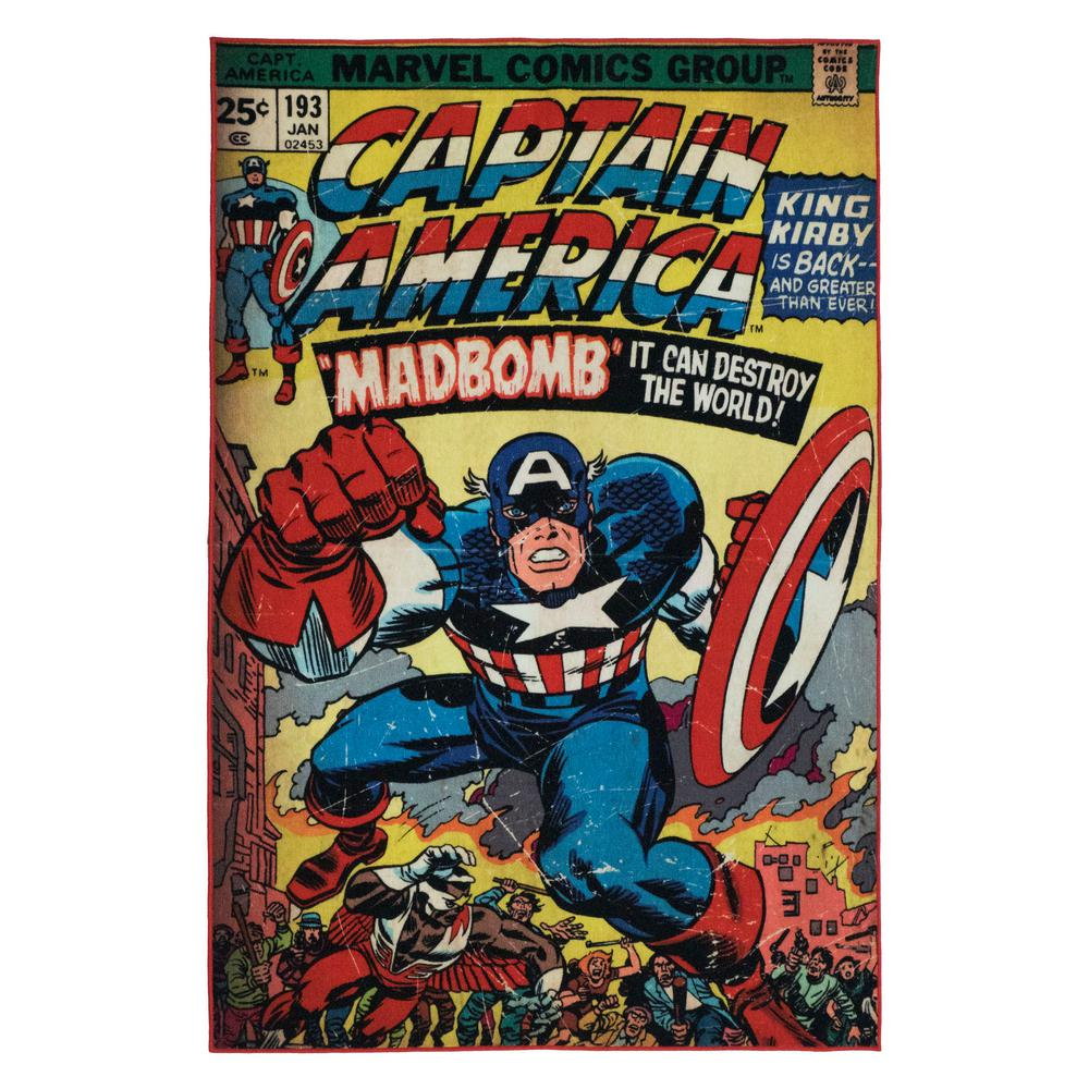 Marvel Captain America Multi Colored 5 Ft X 7 Ft Indoor