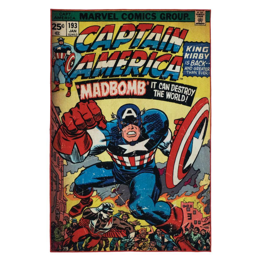 Marvel Captain America Multi Colored 5 Ft X 7 Ft Indoor Juvenile
