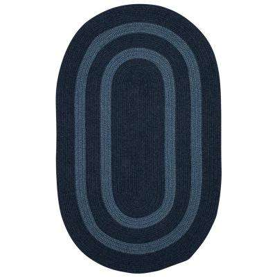 Paige Midnight Blue 10 ft. x 13 ft. Braided Oval Area Rug