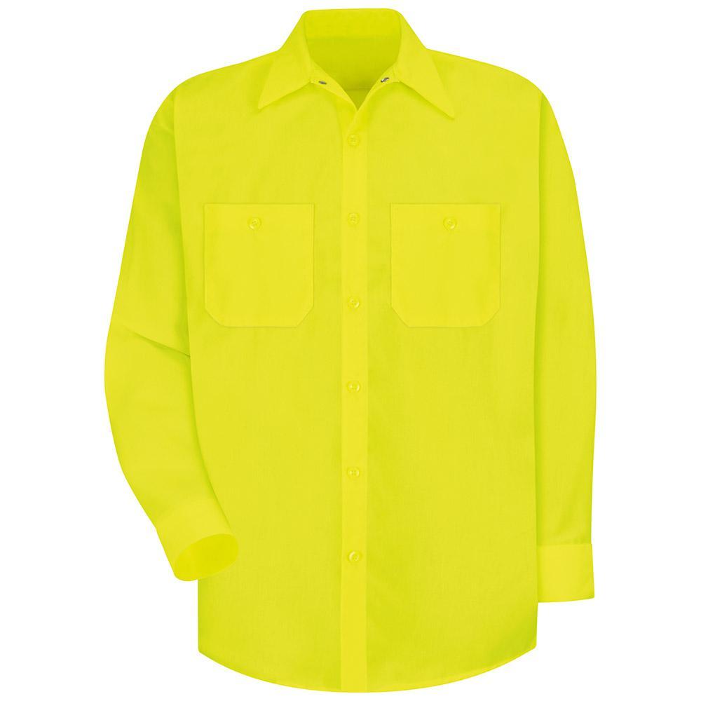 Men's Size 2XL (Tall) Fluorescent YellowithGreen Enhanced Visibility Work Shirt