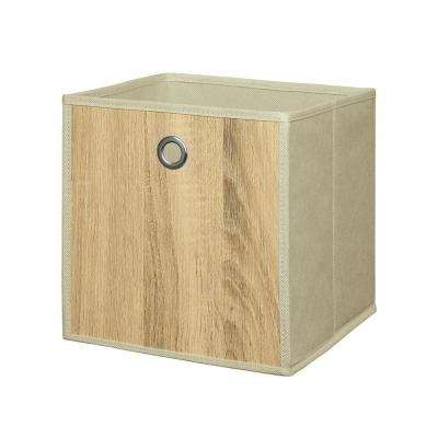 Woodlike 10 in. x 10 in. Cream Fabric Storage Bin (2-Pack)
