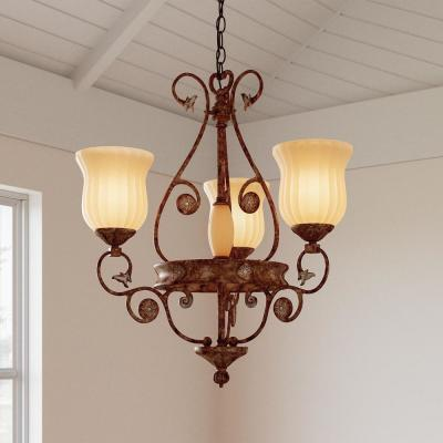 Freemont Collection 3-Light Hanging Antique Bronze Chandelier with Glass Shades