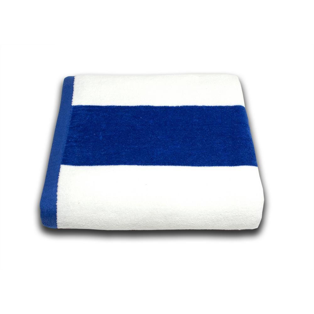Tropical Cabana 100% Cotton Beach Towel in Royal